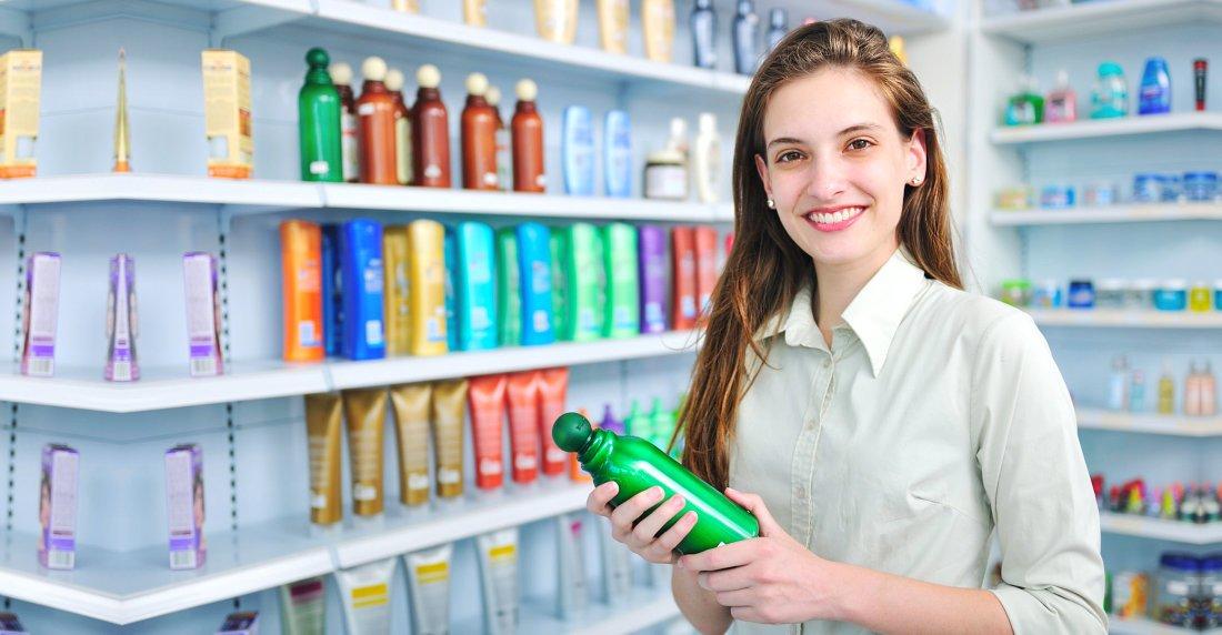 customer holding a bottle